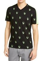 INC Mens T-Shirt Black Neon Green Size XL Skull Colorblock V-Neck Tee $29 070