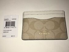 Authentic Coach Light Khaki/Chalk Signature PVC Leather Card Case F63279