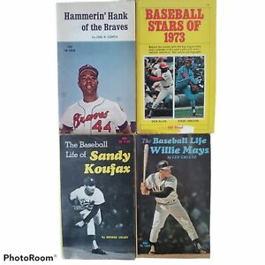 Vintage Lot Of 4 Baseball Books 1971 Mays Koufax Aaron Stars of 1973 paperbacks