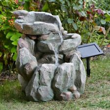 Solar Powered Rock Fall Fountain Outdoor Water Feature 1170530
