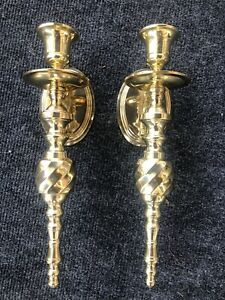 Set of 2 Vintage Solid Brass Wall Sconce  Candle Holders India Gorgeous