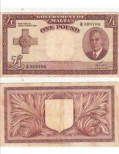 Billet banque MALTE MALTA 1 £ 1949 KING GEORGES VI état voir scan 706