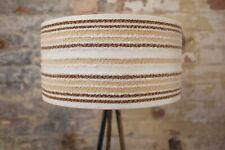 Original 70s Fabric Lampshade, Retro, 40cm Drum, Cream, Striped, Brown