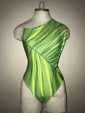 Must See GOTTEX Vintage Green Strappy Back High Cut One Piece Swimsuit Size 10