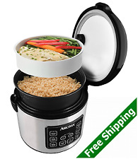 3-IN-1 Digital RICE Cooker, SLOW Cooker, FOOD Steamer WITH 15-hour DELAY Timer