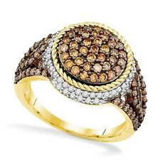 Chocolate Brown White Diamond Round Cluster Ring 10K Yellow Gold 1.18ct Big Look