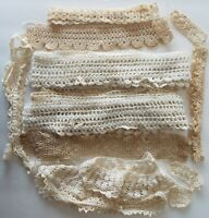 Antique/Vintage Hand-Crocheted Lace Trim Lot – Over 10 Yards of Various Widths