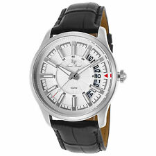 Lucien Piccard 40025-02S Black Leather and Silver-Tone Dial Men's Quartz Watch