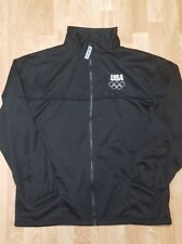 Men's Black XL USA Olympic Committee Full Zip Long Sleeve Polyester Jacket EUC