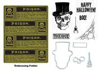 Tim Holtz Sizzix Framelits Dies & Stamps & Embossing Folder - Halloween Skull