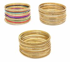 PACK OF 18 GOLD ANTIQUE LCT INDIAN CHURI KANGAN BOLLYWOOD JEWELLERY BANGLES