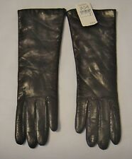 Neiman Marcus Long Chocolate Leather/Cashmere Lined Ladies Gloves Size 7, Italy