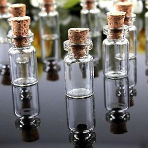MINI SMALL CORK STOPPER GLASS BOTTLES SPELL JAR CLEAR EMPTY VIAL PENDANTS CUBOID