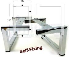 4x CHROME FURNITURE LEGS, METAL FEET 125mm SOFAS, BEDS, CHAIR, CABINETS SELF FIX