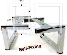 4x Cromato Mobili gambe, piedi in metallo 125mm divani, letti, sedie, armadi Self FIX