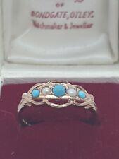 9ct Rose Gold Turquiose & Pearl Ring