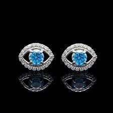 14K White Gold Evil Eye Earrings 1/2CT Created Topaz Diamond Screwback Studs