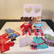 American Girl Bitty Baby Twins (2) Blonde Brown Dolls in orig box extra clothes