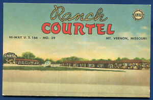 Ranch Courtel on Route 66 Mt Vernon Missouri mo linen postcard