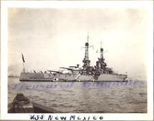 1920s US Navy USS New Mexico BB-40 Battleship Starboard at Anchor Launch Photo