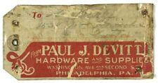 Paul J. Devitt Hardware Supplies Shipping Tag Label Philadelphia Pa Second St.