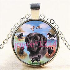 Labrador Retriever Cabochon Tibetan silver Glass Chain Pendant Necklace #5715