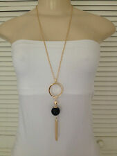 20mm BLACK FAUX PEARL PENDANT GOLD CHAIN TASSEL NECKLACE 30 INCH LONG
