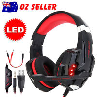 Gaming Headset LED MIC Volume Control Headphones for Mac Laptop PS4 Xbox One