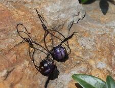 Amethyst Gemstone Earrings Burnished Copper Wire Wrapped Bead Dangle Hoop