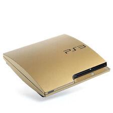 Testurizzato Oro Spazzolato Pelle PER PS3 SONY PLAYSTATION 3 SLIM Decalcomania Avvolgere Adesivo