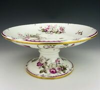 Antique Old Paris Porcelain Compote Tazza Plate Cerise Pink Flowers Sevres Style