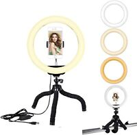 """10.2"""" Led Ring Light with Tripod Stand, Dimmable Ring Light Desktop Light Stand"""