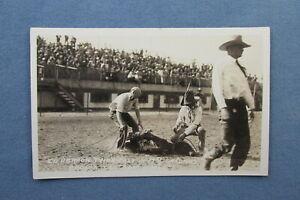 1926 Peoria Illinois COWBOY RODEO Real Photo POSTCARD ~ Ed Herron Calf Roping