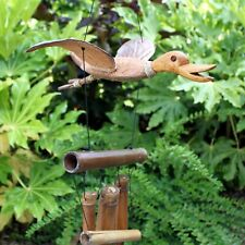 Large Coconut Wood Duck Mobile Garden Ornament Tranquil Sculpture Wind Chime