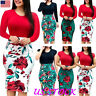 Plus Size Ladies Short/Long Sleeve Floral Boho Women Party Bodycon Maxi Dress US