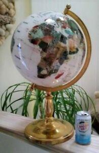 "White Howlite Semi-Meridian Gemstone Globe #465248 with Gold Stand - 24"" High!"