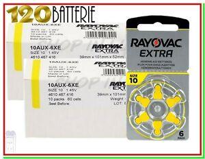 batterie per apparecchi acustici 10 rayovac extra 120 pile per protesi