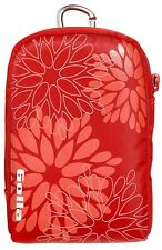 Digital Camera bag Case with Carabiner and strap Red Golla flowers Lifestyle