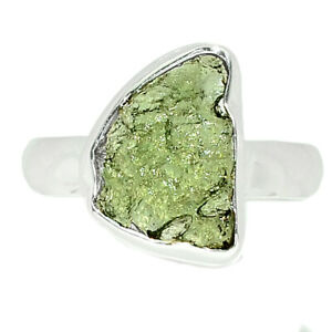 Genuine Czech Moldavite 925 Sterling Silver Ring Jewelry s.7 BR84216