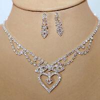 Juego de joyas collar pendiente cristal strass Novia Colgante Cadena plata 43