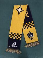 Adidas LA Galaxy 2-Sided Scarf MLS Soccer Blue Yellow Checkered Los Angeles