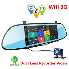 """3G 1080P 7"""" Android Car Video Recorder WIFI Dual Lens Rearview Mirror Dash Cam"""