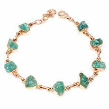 Rough Neon Blue Apatite 11x6mm 14K Rose Gold Plate 925 Sterling Silver Bracelet