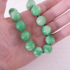 18ct gold diamond clasp jade necklace, large heavy
