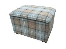 FOOTSTOOLS/ POUFFES WITH STORAGE IN A QUALITY BEIGE TARTAN FABRIC