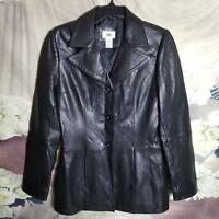 BP Women's Genuine Lamb Skin Leather Jacket Size M Button Front Black