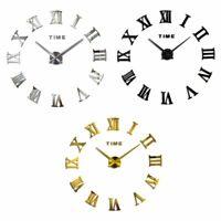 DIY 3D Wall Clock Roman Numeral Metallic Mirror Stick Home On Clock Decor Black