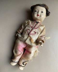 Antique Chinese Doll 1920s Bisque Dressed Silk Clothed Tunic Moving Arms Legs