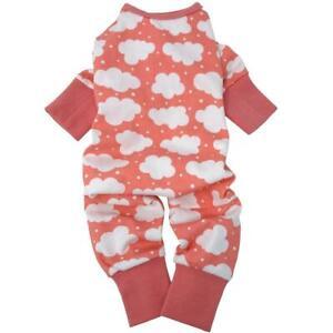 CuddlePup Dog Pajamas - Fluffy Clouds - Coral  XS-S-M-L
