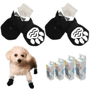4pcs Black Small Dog Socks Dog Non-slip Shoes Paw Print Winter Warm Boots S-XL